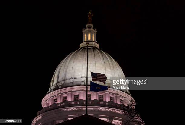 The Wisconsin State Capitol where late night debate is taking place over contentious legislation December 4 2018 in Madison Wisconsin Wisconsin...