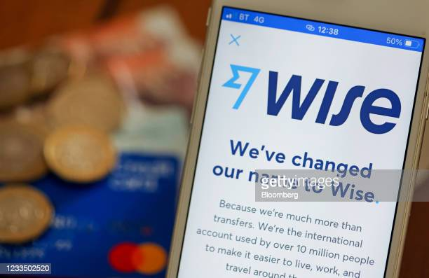 The Wise digital payments provider company logo on a smartphone arranged in Danbury, U.K., on Thursday, June 17, 2021. Digital-payments provider Wise...