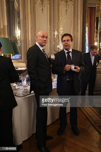 The wishes of Nicolas Sarkozy to the bodies and officials In Lille France On January 11 2008Bernard Laporte Secretary of State for Sports and Luc...