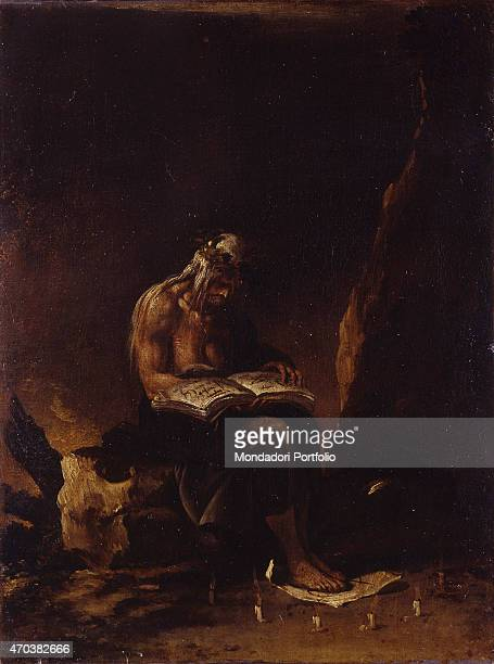 """""""The Witch, by Salvatore Rosa 17th century, oil on canvas. Italy, Lazio, Rome, Capitoline Museum. Whole artwork view. Old lady with bare breasts..."""