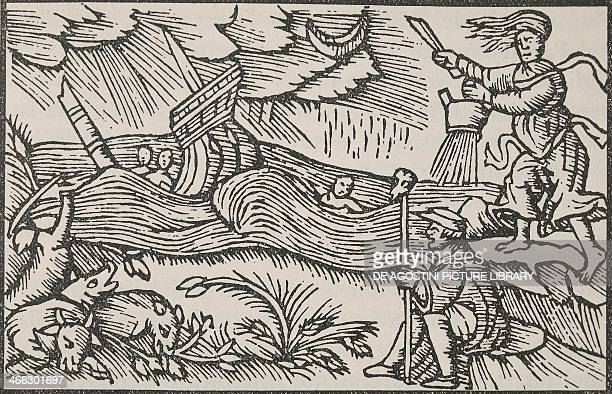 The witch unleashing the storm engraving from the History of the Northern Peoples by Olaus Magnus Archbishop of Uppsala Rome 1555 16th century