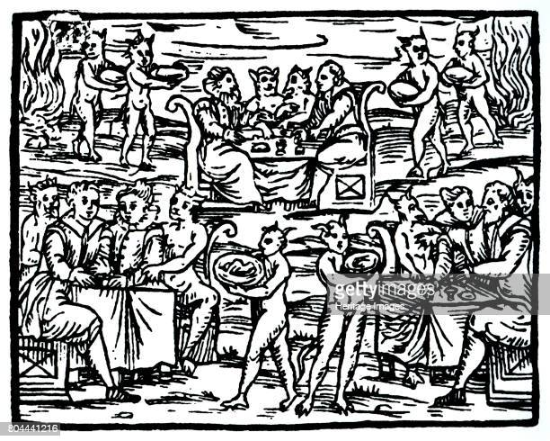 The witches' sabbath 1608 Copy of an illustration from Compendium Maleticarum by Fr M Guaccius Milan 1608 used in History of Magic published late...