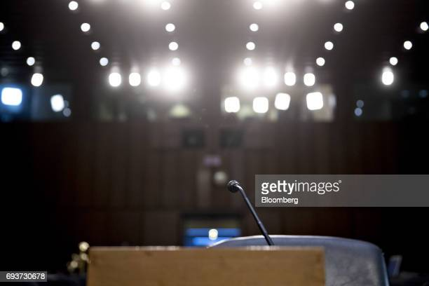 The witness microphone sits on a table in the Senate Intelligence Committee hearing room ahead of testimony by former Federal Bureau of Investigation...