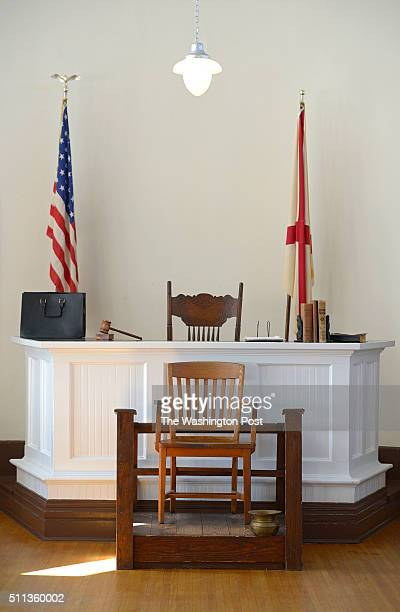 The Witness stand and the judge's bench of the courtroom in the old Monroe County Courthouse Tuesday Feb10 2015 in Monroeville Ala