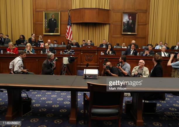 The witness table is empty as Chairman Jerrold Nadler  speaks after Attorney General William Barr declined to appear Capitol Hill on May 2 2019 in...