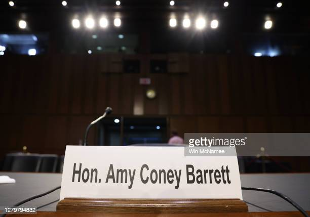 The witness table is set for Supreme Court nominee Judge Amy Coney Barrett to testify before the Senate Judiciary Committee on the first day of her...