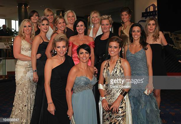 The wives and partners of the European Ryder Cup team members pose prior to the 2010 Ryder Cup Dinner at the Celtic Manor Resort on September 29,...
