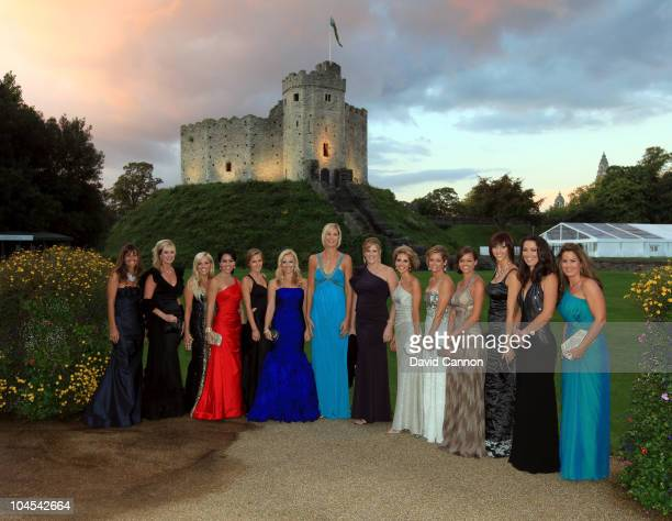 The wives and partners of the United States Ryder Cup team pose for a photograph during the 2010 Ryder Cup Dinner at Cardiff Castle on September 29,...