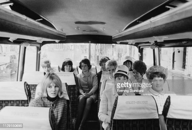 The wives of Everton FC soccer players travelling on a coach to Wembley Stadium to attend the FA Cup final UK May 1968