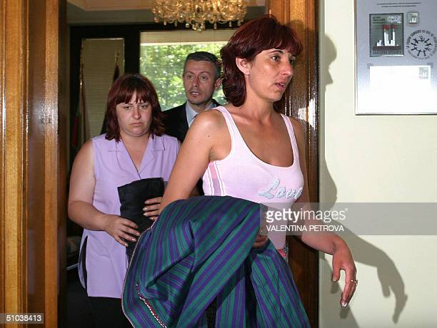The wives of the two Bulgarian hostages in Iraq Georgi Lazov and Ivaylo Kepov respectively Lyudmila Aleksova and Nelly Kepova pictured after a...