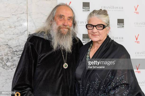 The Wizard of Christchurch and his partner Alice Flett attend the world premiere of The Changeover on September 25, 2017 in Christchurch, New Zealand.