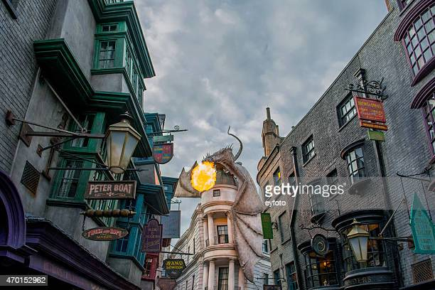 the wizarding world of harry potter - diagon alley - alley stock photos and pictures