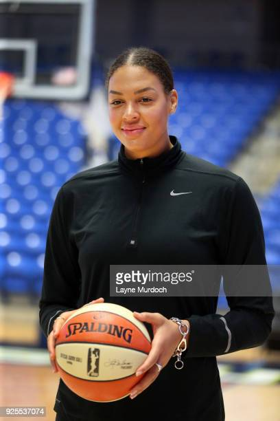 The WNBA Dallas Wings Australian professional basketball player Elizabeth 'Liz' Cambage poses for photos as the Wings hold a press conference...