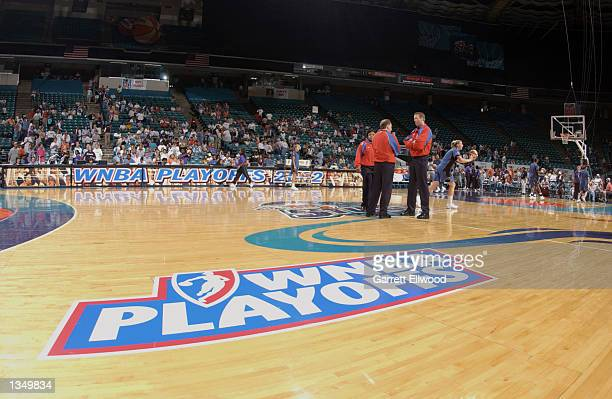 The WNBA Playoffs logo in Game two of the Eastern Conference Semifinals between the Washington Mystics and the Charlotte Sting during the 2002 WNBA...