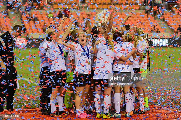 The WNY Flash celebrate winning the 2016 NWSL Championship soccer match between WNY Flash and Washington Spirit at BBVA Compass Stadium in Houston...