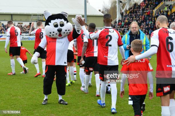 The Woking mascot highfives the players as they come on the pitch for the English FA Cup third round football match between Woking and Watford at...