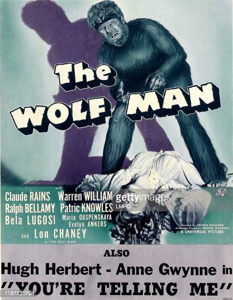 The Wolf Man poster as '' Lon Chaney the girl Evelyn Ankers on a window card poster doublebilled with 'YOU'RE TELLING ME' 1941