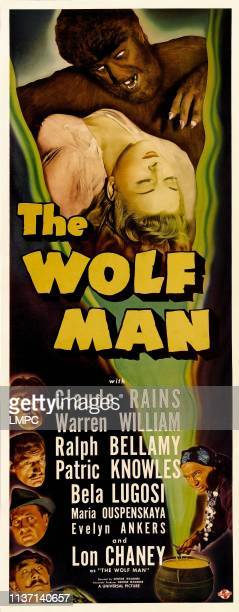The Wolf Man poster top Lon Chaney Jr Evelyn Ankers insets from top Claude Rains Warren William Ralph Bellamy Bela Lugosi 1941