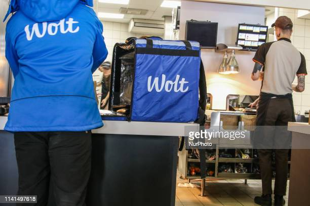 The Wolt company bicycle messenger in McDonalds restaurant is seen in Tallinn Estonia on 30 April 2019