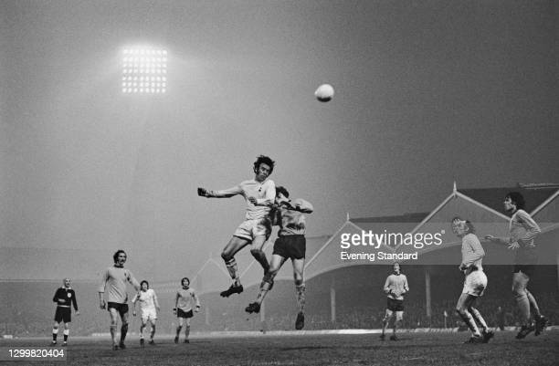 The Wolverhampton Wanderers take on Tottenham Hotspur in the first leg of the UEFA Cup Final at Molineux in Wolverhampton, UK, 3rd May 1972.