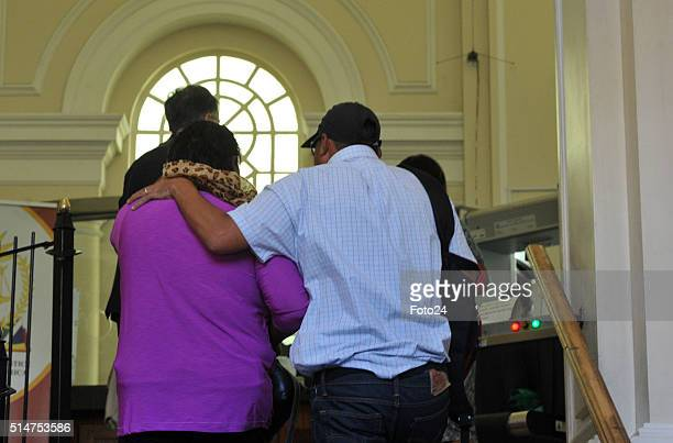 The woman found guilty of kidnapping Zephany Nurse being consoled by her husband at the Cape Town Magistrate Court on March 10 2016 in Cape Town...