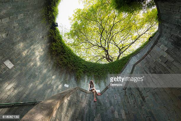 The woman sits on handrail while look at a big tree in a park.