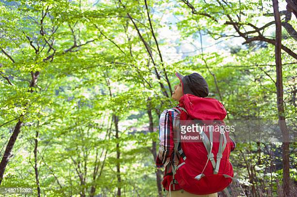 The woman who looks at beautiful nature