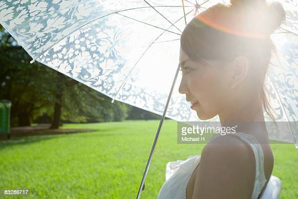 The woman who puts up her umbrella