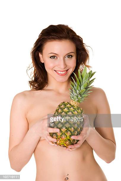 The woman with pineapple.