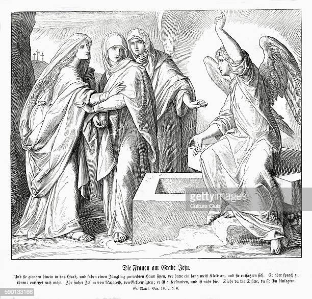 The women at Jesus' tomb, Gospel of Mark chapter XVI verses 5 - 6 'And entering into the sepulchre, they saw a young man sitting on the right side,...