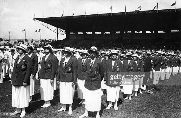 The women of the Great Britain team at the opening ceremony of the Olympic Games, Paris, 4th May 1924.