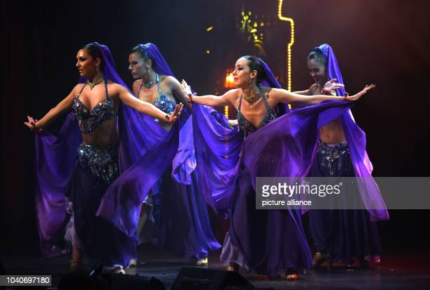 The women of the 'New Scala Ballett' perform during the vaudevilleshow '1001 Nights in Marrakech' on stage of the Roncalli Apollo Vaudeville Theatre...