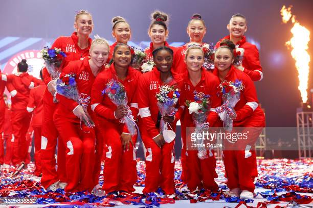 The women representing Team USA pose following the Women's competition of the 2021 U.S. Gymnastics Olympic Trials at America's Center on June 27,...