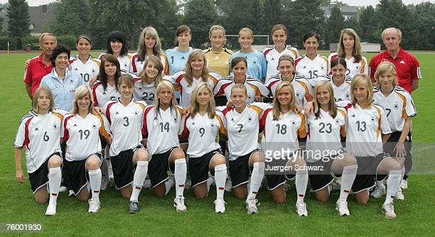 The Women Under 17 German National Soccer Team on August 7 2007 in Kamen Germany MarieLouise Bagehorn Julia Losert Inka Wesely Michelle Baumann...