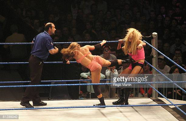 The women wrestlers in action at the WWE SmackDown Superstars Return of the Deadman Tour at Vodafone Arena August 29 2004 in Melbourne Australia