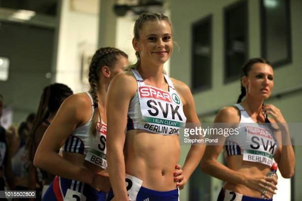 The Women's 4x400m team of Slovakia leave the call room ahead of their final race during day five of the 24th European Athletics Championships at...