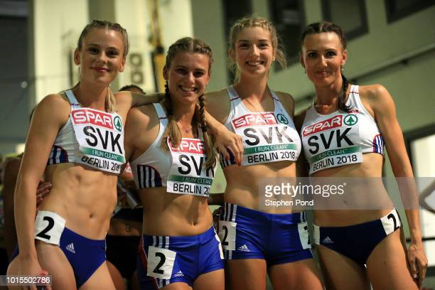 The Women's 4x400m team of Slovakia pose for a photograph as they leave the call room ahead of their final race during day five of the 24th European...