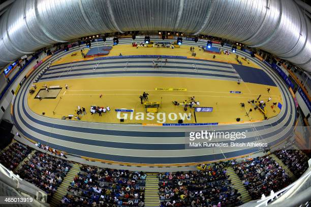 The Women's 60 metres hurdles during the British Athletics Sainsbury's Glasgow International Match at the Emirates Arena on January 25 2014 in...