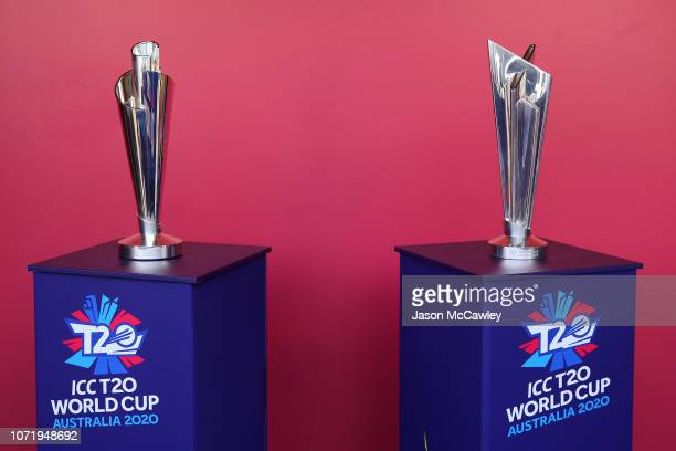 The womens and mens trophy is seen during a ICC 2020 T20 World Cup Media Opportunity at the Sydney Cricket Ground on November 24 2018 in Sydney...