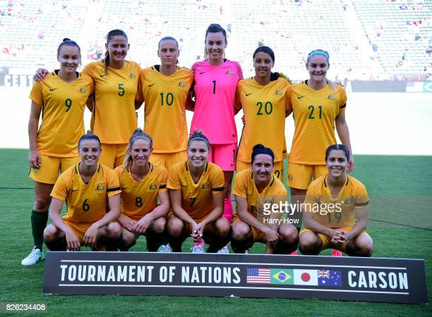 The women's Australian national team pose for a photo before their match against Brazil during the 2017 Tournament Of Nations at StubHub Center on...