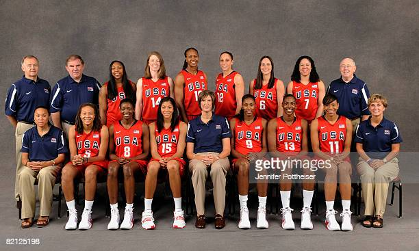 The Women's Basketball Senior National Team and its coaching staff pose on July 30 2008 in Palo Alto California Standing Athletic Trainer Edward J...
