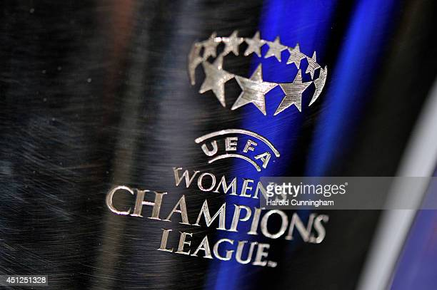 The Women's Champions League trophy is displayed prior to the UEFA 2014/15 Women's Champions League Qualifying Round draw at the UEFA headquarters...