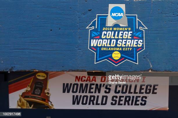 The Women's College World Series logo is seen during the Division I Women's Softball Championship held at USA Softball Hall of Fame Stadium OGE...