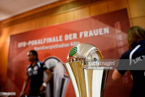 The Women's DFB Cup trophy is pictured during a Women's DFB Cup press conference with Genoveva Anonma and Patricia Hanebeck of 1 FFC Turbine Potsdam...