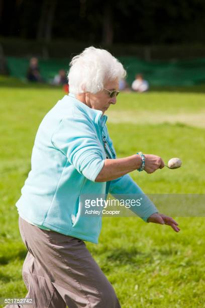 The womens egg and spoon race at the Rusland Vale Horticultural society annual show. The Rusland show is a very traditional Lakeland family show in Rusland, South Cumbria, UK.