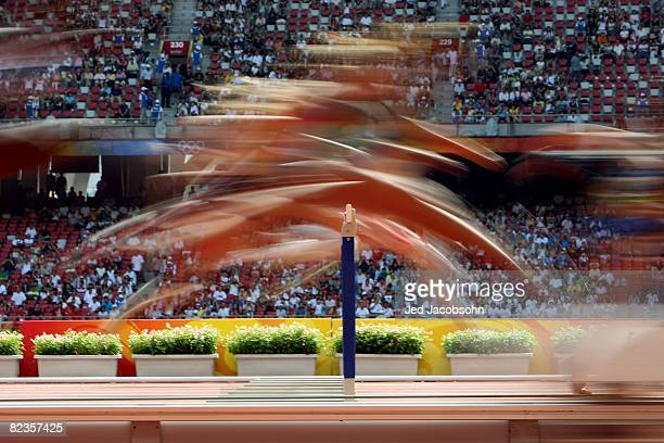 The Women's Heptathlon 100m Hurdles Heats at the National Stadium on Day 7 of the Beijing 2008 Olympic Games on August 15 2008 in Beijing China