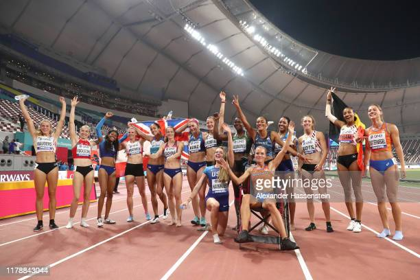 The Women's Heptathlon athletes pose for a group photo during day seven of 17th IAAF World Athletics Championships Doha 2019 at Khalifa International...