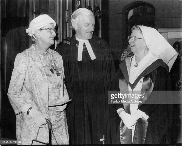 The Women's Hospital Crown St 80th Anniversary Thanksgiving Service at St Stephens Church SydneyL to R Former Matron of Crown St Hosp Edna Mary Shaw...