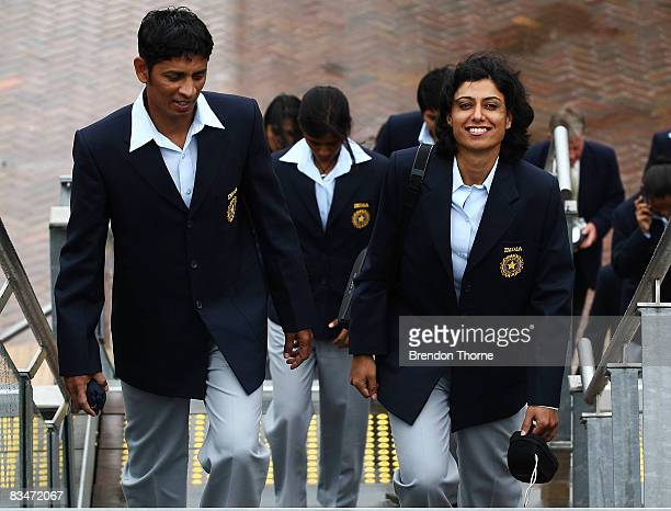 The women's Indian cricket team arrive at the launch of the ICC Women's World Cup at Cruise Bar Circular Quay on October 29 2008 in Sydney Australia