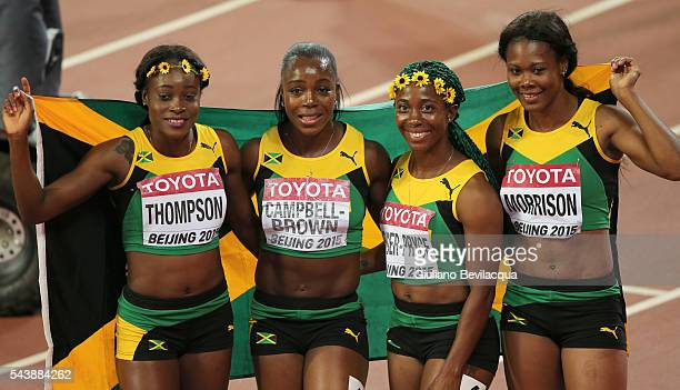 The womens Jamaican 4x100 relay team wins the goldhere with ShellyAnn FraserPryce as the anchor woman